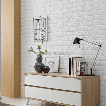 Bd001 stretchy decorative white pe brick foam 3d sticker for Room decor 3d foam stickers