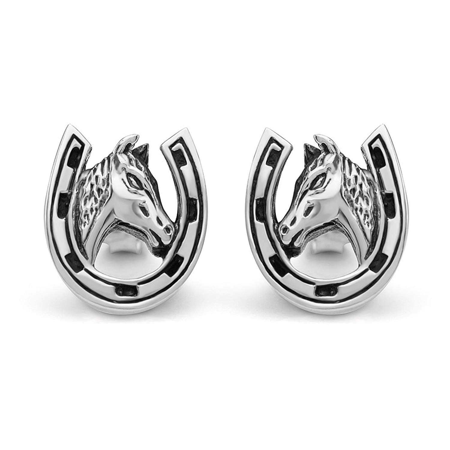 31704fab6 Get Quotations · 925 Sterling Silver 10 mm Tiny Lucky Horse Shoe with Horse  Head Post Stud Earrings