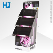 Advertsing perfume counter cardboard display stand, CMYK printing 3 shelves paper display stand for cosmetics / snacks