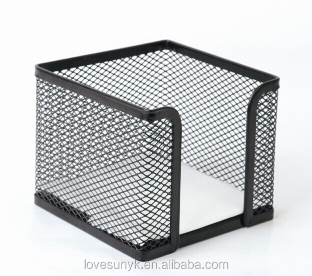 Mode metalen mesh memo pad holder wire mesh cube memo note houder