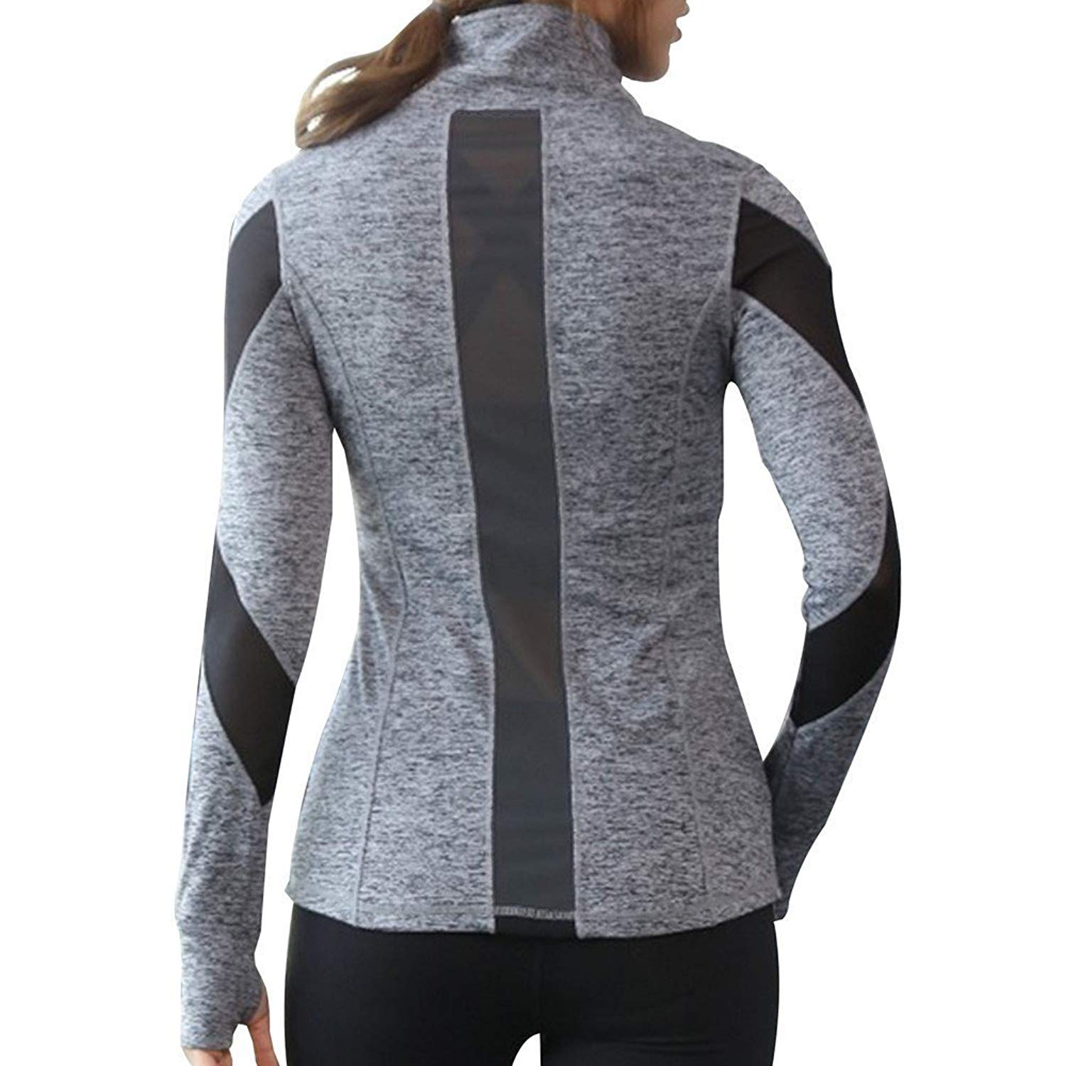 d3ec41e49f9 Get Quotations · Women Slim Fit Athletic Running Yoga Fleece Lined Full-Zip  Hand Pockets Turtleneck Workout Track
