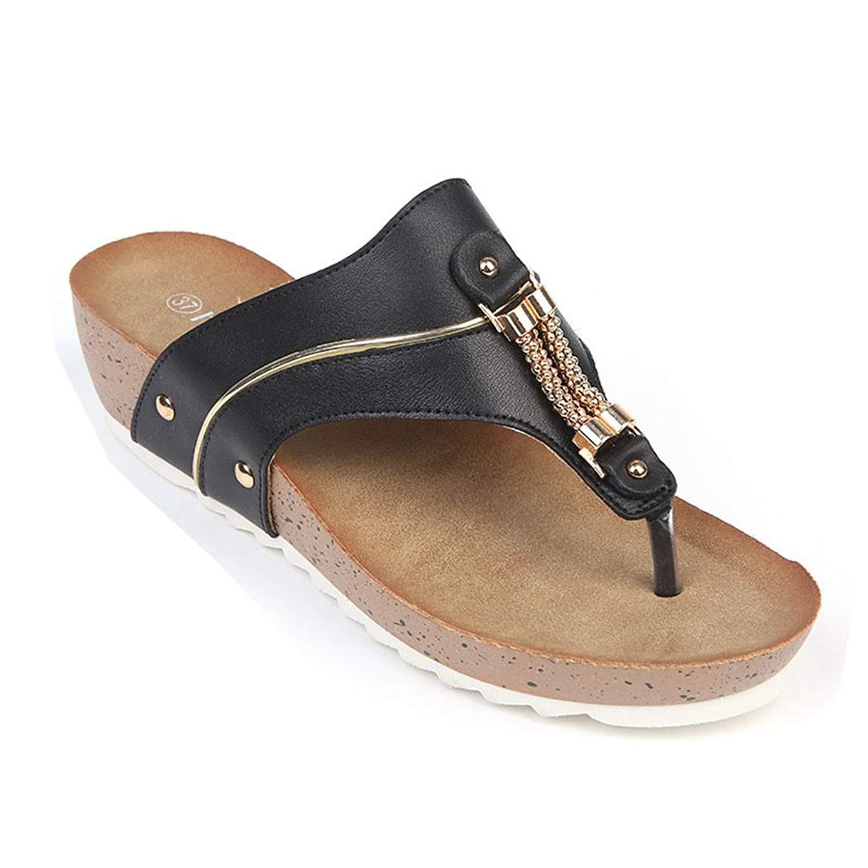 57e90a85ce60d Get Quotations · GIY Women s Slide Platform Sandals Summer Beach Outdoor  Slip On Peep Toe Thong Flat Wedge Flip