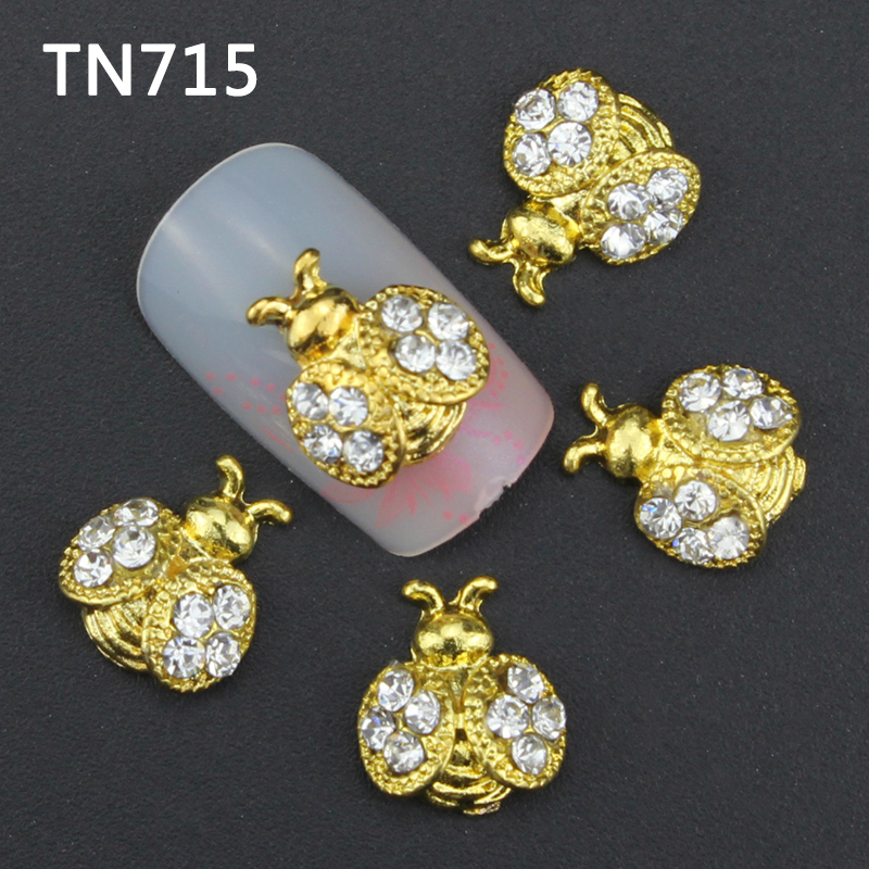 10pcs Glitter golden Bee 3d Nail Art Decorations with Rhinestones Alloy Nail Charms Jewelry for Nail