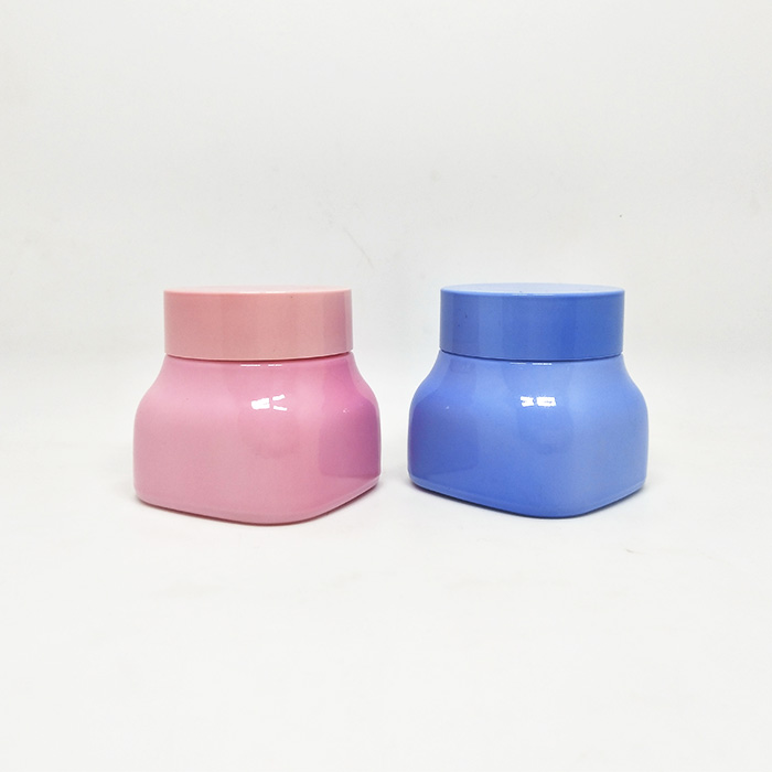 Customized 50g matte pink porcelain cosmetics jar frosted glass with frosted pink lid