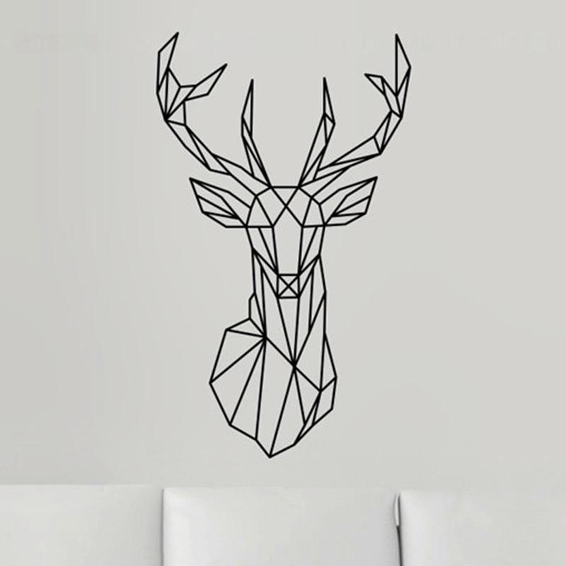 2016 New Design Geometric Deer Head Wall Sticker Geometry ...