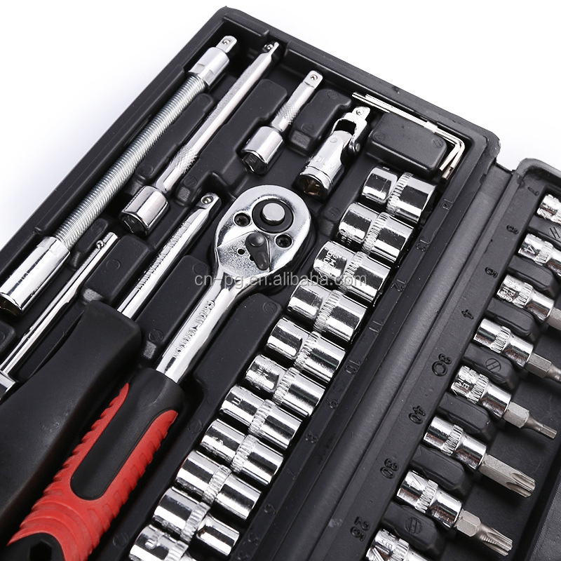 "set of 46pcs machine auto repair tools combination set hand movement impact socket wrench spanner  1/4"" small socket and bit set"