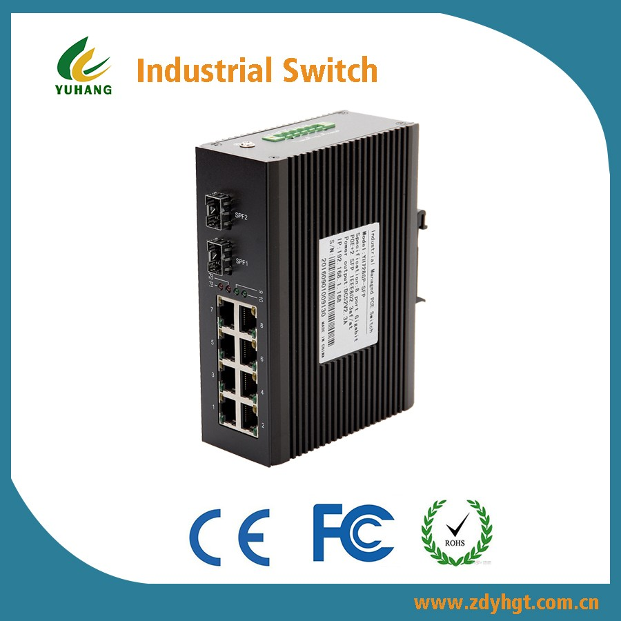 8* 10/1001000M-base-Tx RJ45 Ports 1 G Fast Fibre cable to Ethernet Switch POE Industrial Media Converter