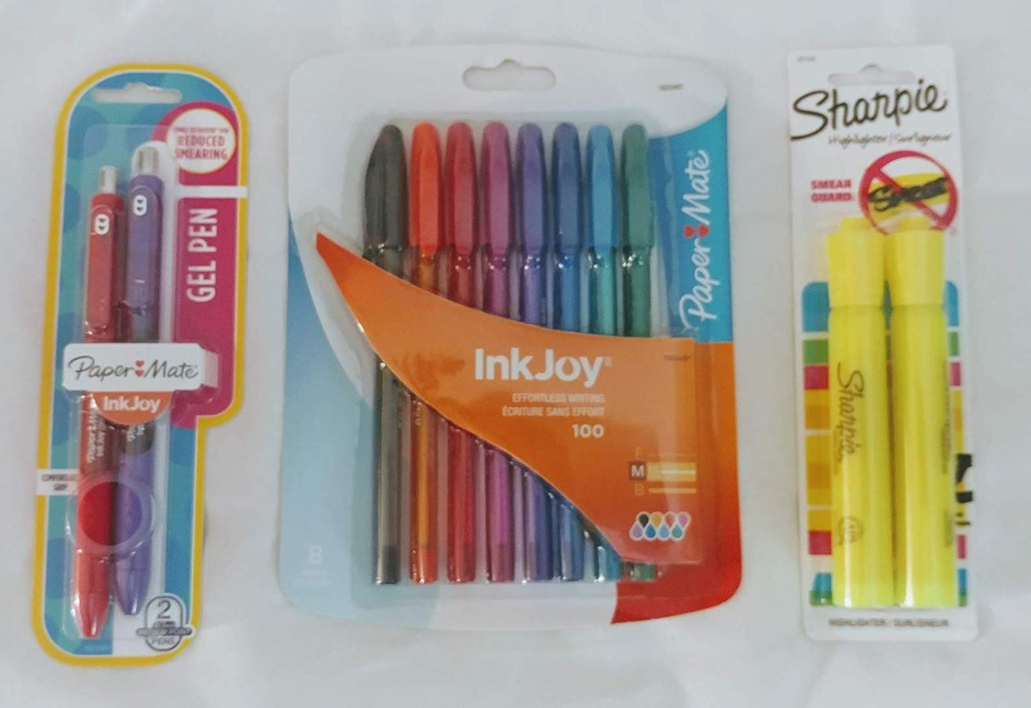 Sharpie Fluorescent Yellow Highlighter (2-Pk) with BONUS InkJoy Gel Pens (2-Pk) and Paper Mate InkJoy 100ST Ballpoint Pen, Medium, Fashion Colors (8-Count) Exclusive Bundle - 3 pieces