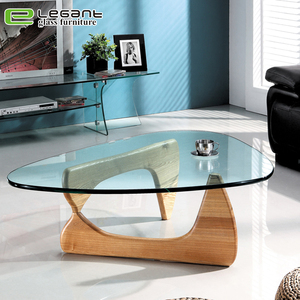 Triangle Glass Coffee Table with Wood Base