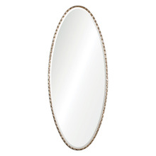 Elongated iron oval accented with a wavy, decorative element all finished in a lightly antiqued silver leaf frame mirror