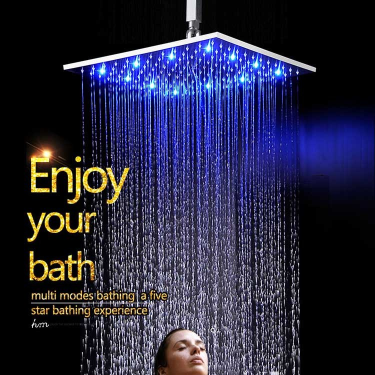 12 Inch Hydro Powered Brass Chrome Rain Shower Head Color Change
