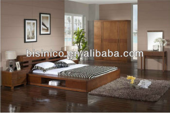 Malaysia Solid Wood Bedroom Furniture Storage Bed Wooden Set Graceful