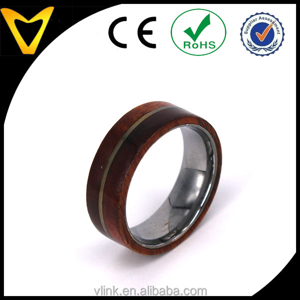 Natural Wood Ornament Ring With Steel Channel Titanium Rings