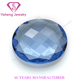 Artificial Oval Shape Blue Faceted Cut Briolette Glass Bead Stone Wholesale Price