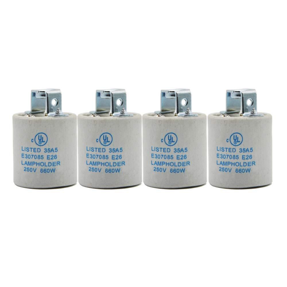 E26 Socket,Ceramic Standard Medimun Screw Socket E26 E27 Bulb Lamp Holder,Screw Fixing for E26 Halogen Incandescent LED Light Bulb (4-Pack)