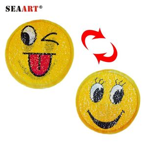 Cute Emoji With Red Tone Changes to Smile Face Sequin Patch