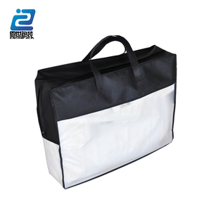 super soft black nonwoven and pvc binding pillow bag with zipper