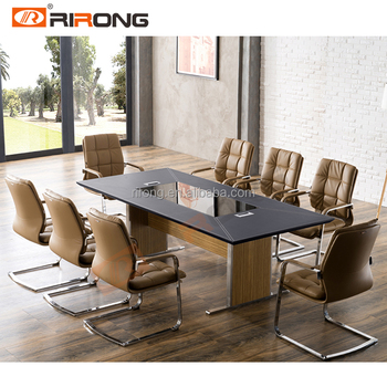 High End Leather Top Boardroom Desk Meeting Table Conference Table