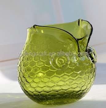 Green Owl Shape Glass Vases Flower Stands Buy Green Owl Shape