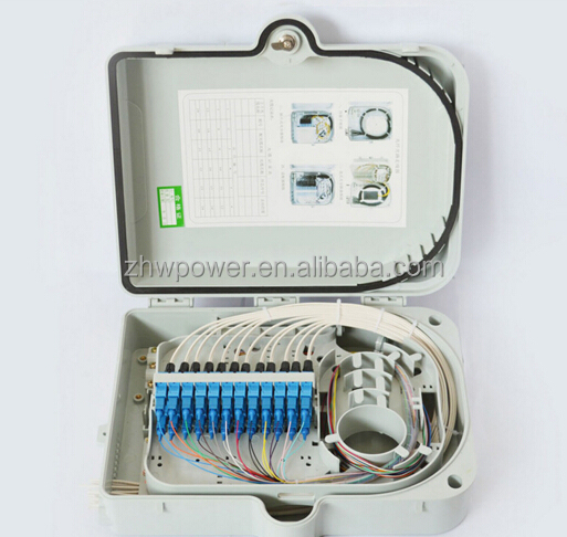 SC/APC adaptor Plc Splitter FTTH 16 cores Fiber Optic distribution box/terminal box.