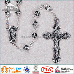 Antique Rose Flower petal Alloy Metal Beads Religious Rosary with Saint Madonna & Child Center