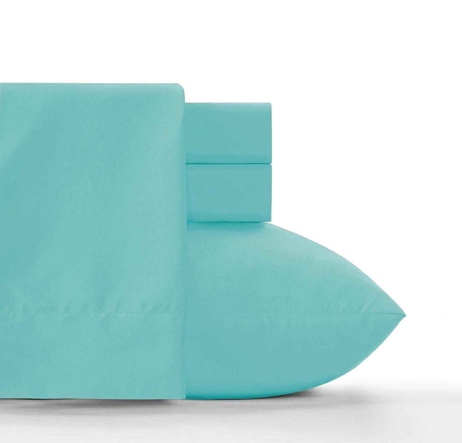 Du 4pc Girls Robin's Egg Blue Queen Sheet Set, Light Blue Solid Color Pattern Deep Pocket Design, Luxurious Traditional Bright Colorful Themed Teen, Microfiber Polyester, Kids Bedding Bedroom
