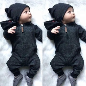 2018 new infant Newborn Baby Boy Girl Hooded Romper Black Jumpsuits Zipper Bodysuit Outfits Clothes Wholesale Unisex