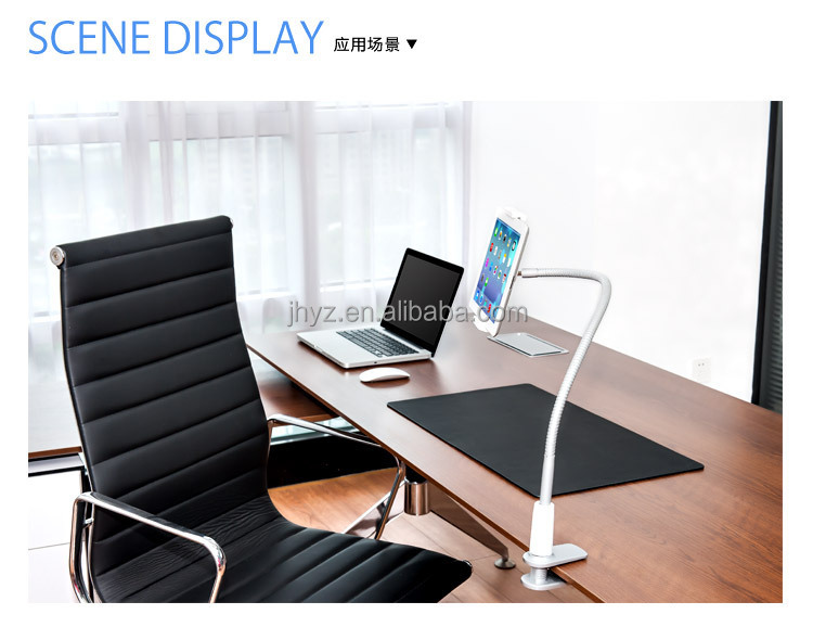 flexible metallic feel gooseneck tablet holder phone stand for bed and desk