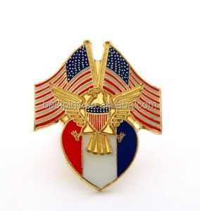 Custom USA Flags Gold Eagle Red White And Blue Shield Patriotic Lapel Hat Pin