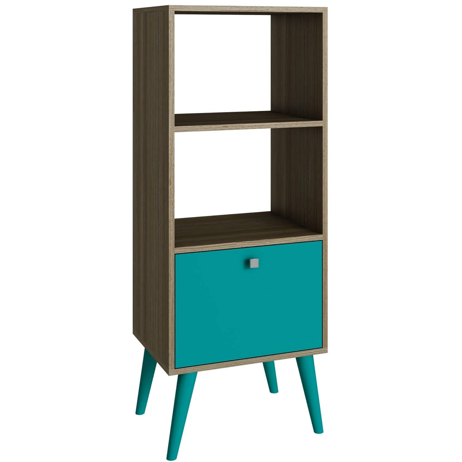 Trustpurchase Modern Bookcase with Mid-Century Style Wood Legs in Oak Aqua Finish, Stylish Sophistication Adds Distinctive Style to The Den, Then Round it Out w/Your Favorite Novels & Framed Photos