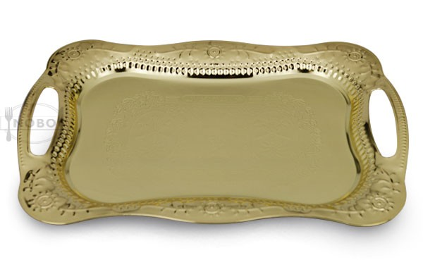 stainless steel gold serving tray for snack shop hotel restaurant