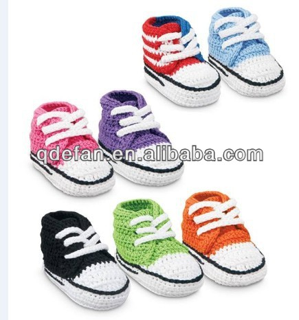 Hand made knitted baby crochet shoes