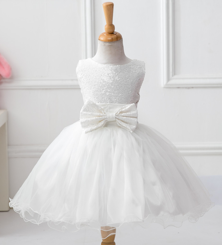 Sequins Dress Kid Birthday Party With Bow Flower Bridesmaid For 10 Years Old Kids Wear Dresses S