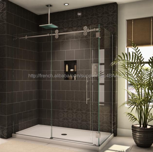 Nettoyage salle de bains de douche coulissante portes sans cadre verre portes de douche avec - Nettoyage de salle de bain ...