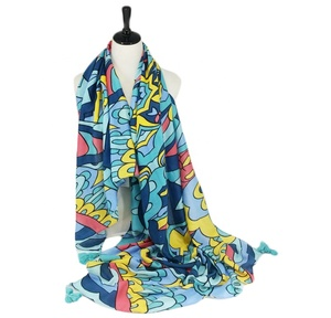 Fashion women scarf soft lightweight boho printing long soft wrap tassel scarf ladies shawl blue scarves