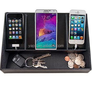 Home Electronics Charging Station Leather Dock And Cell Phone Organizer