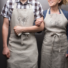 printing 100% linen chef vintage apron with pocket in natural color full/bib style for promotion/sale/cafe/chef