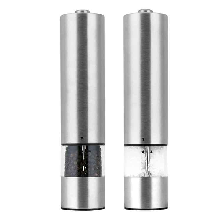 2 in 1 stainless steel auto glass battery operated salt pepper mill