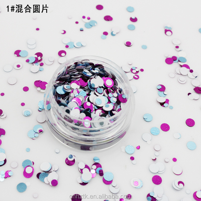 Mixed Round Shape Glitter Flakes For Nail Art