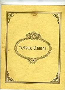 Vieux Chalet Menu Memphis Tennessee New Orleans Style French Menu 1980's