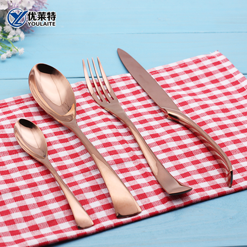 Dinnerware Set Pvd Stainless Steel Rose Gold Fork Cutlery Wedding Brass Flatware Set