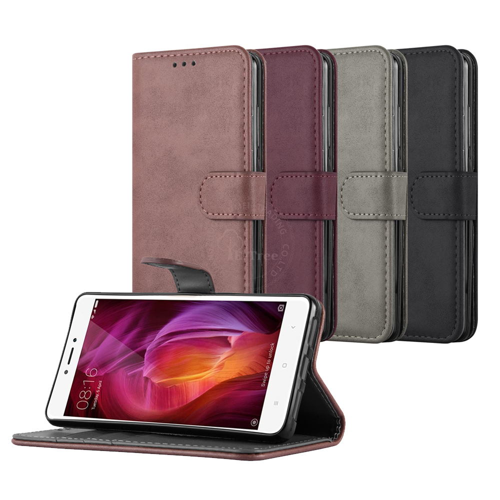 Folio Magnetic Leather Flip Cover Case For Xiaomi Redmi Note 4X Back Cover