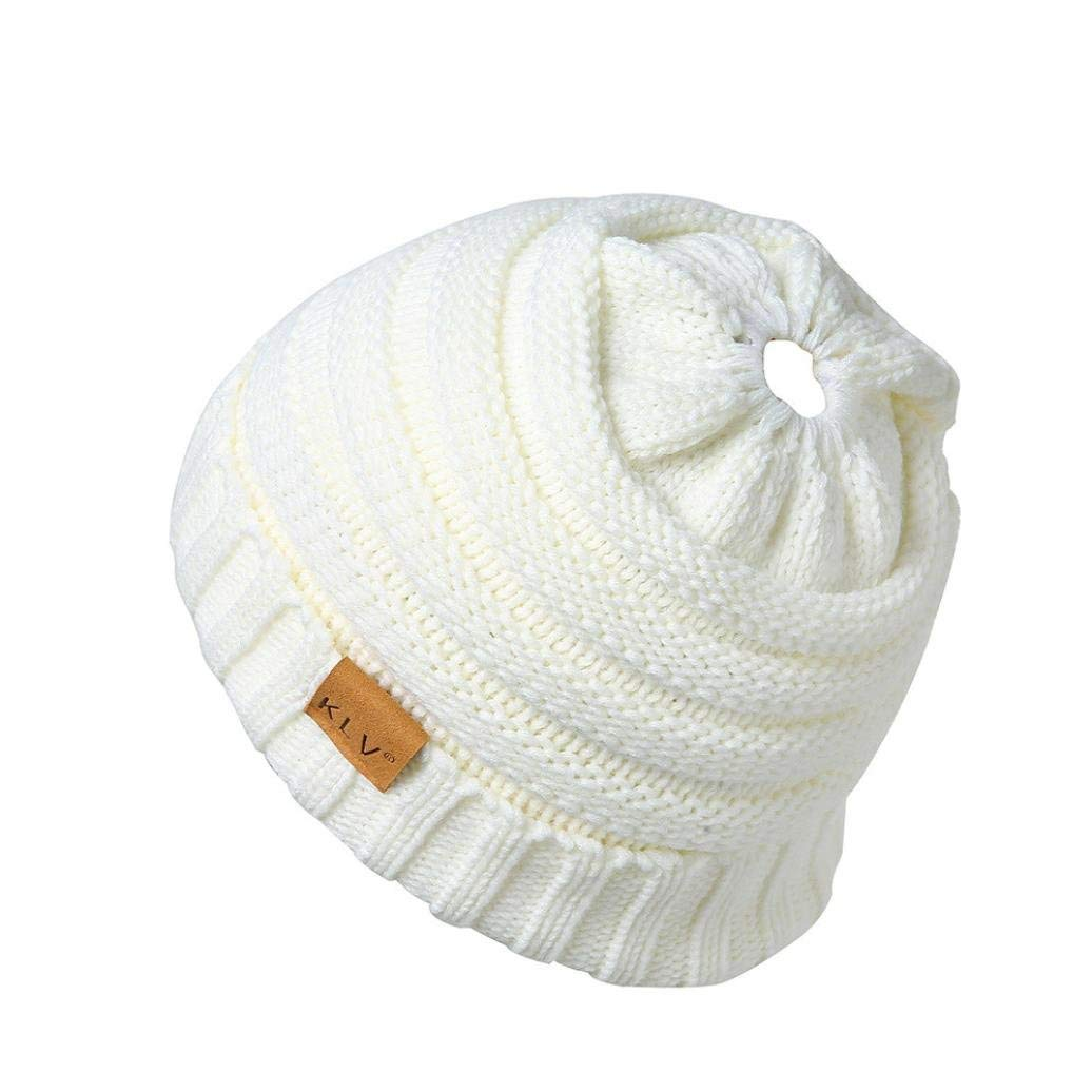 SUKEQ Soft Stretch Cable Knit Messy High Bun Ponytail Beanie Hat Versatile Slouchy Ski Skull Cap with Holes in Winter (White)