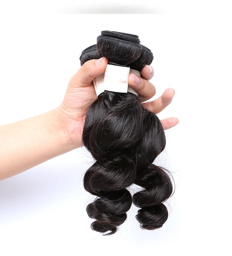 peruvian Loose wave  human hair bundles 14 inch Loose wave  peruvian hair weft for black woman