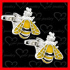 Fashionable gold plated bee cufflink