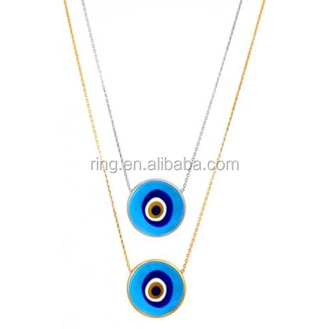 Turkish Murano Evil Eye Necklace 925 Sterling Silver Gold Plated
