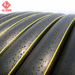 black hdpe gas hose pipe with yellow line