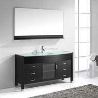 Wood Vanities Bathroom with Glass Vanity Top X074