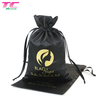 Promotional Reusable Hair Extension Packaging Custom Printed Black Satin Drawstring Hair Gift Bag