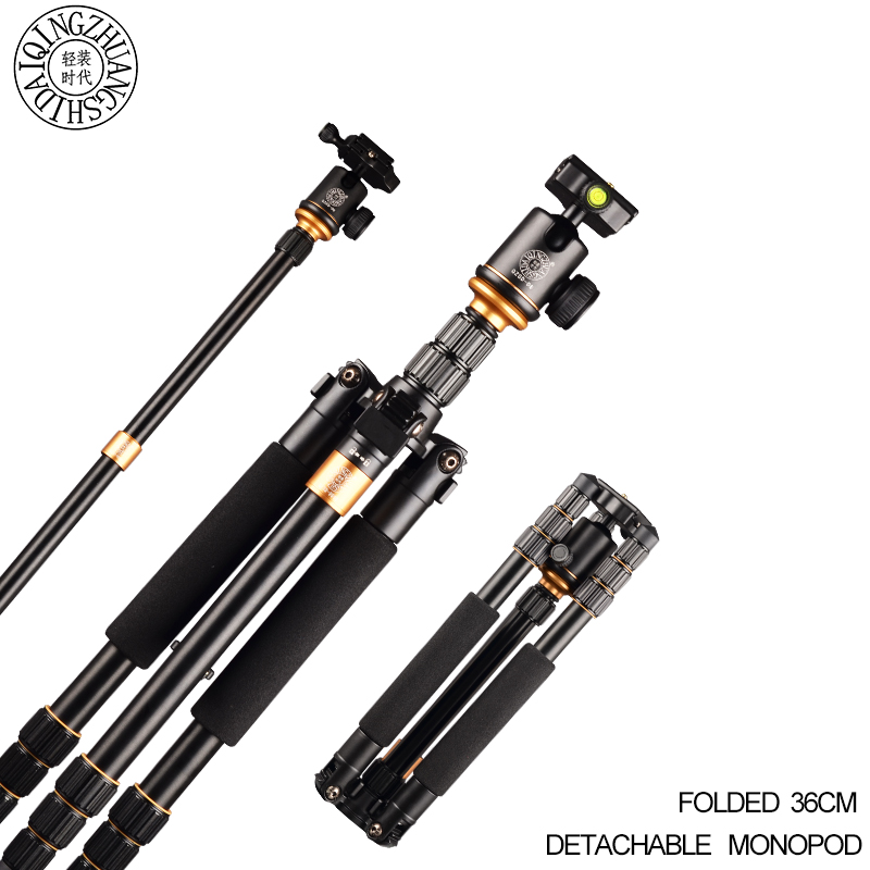 Qingzhuangshidai Q999S professional tripod be changed monopod with ball head for DSLR SLR camera